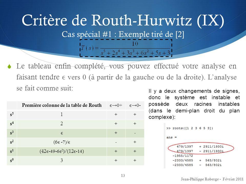 Critère de Routh-Hurwitz (IX) Cas spécial #1 : Exemple tiré de [2]